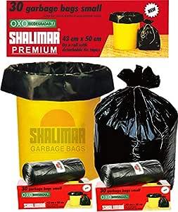 Shalimar Premium OXO - Biodegradable Garbage Bags (Small) Size 43 cm x 51 cm 6 Rolls (180 Bags) ( Black Colour )