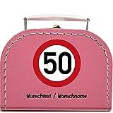 Pappkoffer mit Individuellem Wunschtext zum 50 Geburtstag - Verkehrsschild Koffergröße 16 x 11,5 x 7,5 cm, Farbe pink