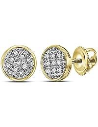 fff2065fceb7 Jewels by Lux - Pendientes de oro amarillo de 10 quilates para hombre con  círculo de
