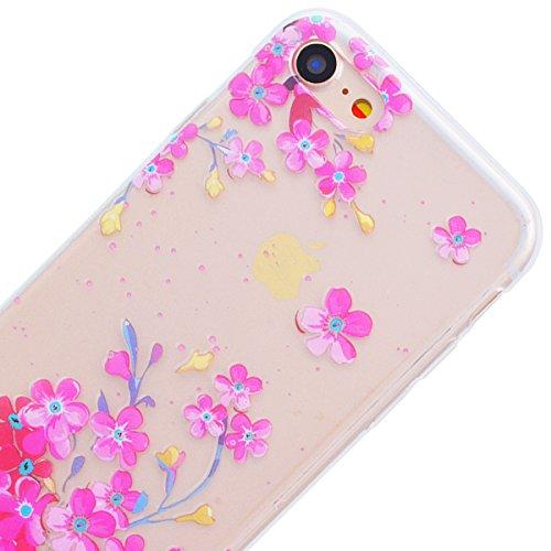 "GrandEver Coque iPhone 7 Plus (5.5"") Transparente Silicone Gel avec Motif Antichoc Kawaii Rigide Souple Bumper Design Ultra Fine One piece Etui Cover Case Housse pour iPhone 7 Plus --- Ananas Fleur Rose"
