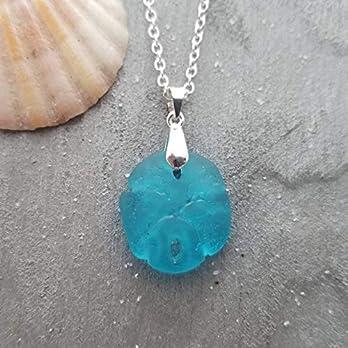 """Hawaii Schmuck,""""ocean blue"""" Sand-Dollar-Seeglas Halskette, (Hawaii Gift Wrapped, individuell gestaltete Geschenk-Message)"""