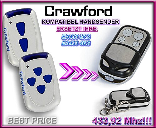 Preisvergleich Produktbild CRAWFORD EA433 2KS / CRAWFORD EA433 4KS Kompatibel Handsender, 433.92Mhz rolling code keyfob