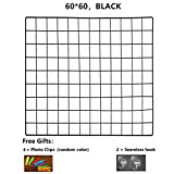 ShouYu DIY Grid Panel Foto Wand,Gitter,ins Mesh Wand,Multifunktion Gitterwand Deko,Memo Brett Organisator Regale (Schwarz,60×60cm)