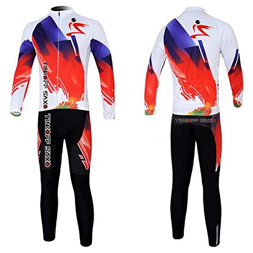 Winter Quick Dry ciclismo da uomo maniche lunghe Sets Bicycle Wear giacche maglietta da corsa maglietta da allenamento, abbigliamento sportivo tuta bavaglino 3D imbottito SET23, Uomo, White, XL