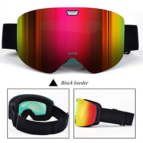 LYLhmj Skibrille, Outdoor-Sport Snowboard-Schutzbrillen mit Anti-Nebel UV-Schutz Austauschbare sphärische rahmenlose Linse, winddicht Ski-Schutzbrillen für Motorrad Fahrrad Skifahren Skaten (Schwarz)