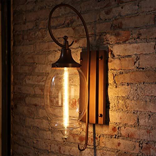 ZQH LED Draussen Wandleuchte, IP54 Wasserdicht Glas Wandlampe Veranda Licht Außen Draußen Garten Wandhalterung Sicherheit Laterne E27 Flur Balkon Dekoration Leuchter,66 * 20cm -