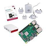 Raspberry Pi 3Model B + Original Offizielle Starter Kit weiß white mit Netzteil Ladegerät Original, Case Original, Kabel HDMI, Kühlkörper und offizielle microSD 16GB mit NOOBS