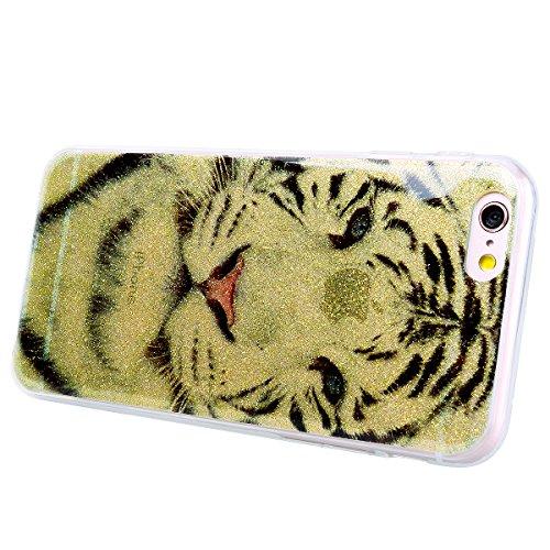 WE LOVE CASE iPhone 6 / 6s Hülle Glitzern Transparent Schwarz iPhone 6 / 6s Hülle Silikon Weich Feder Campanula Handyhülle Tasche für Mädchen Elegant Backcover , Soft TPU Flexibel Case Handycover Stoß Tiger