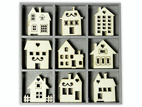 Preisvergleich Produktbild cart-us-10,5X 10,5cm mit Häuschen aus Holz, Farbe: natur