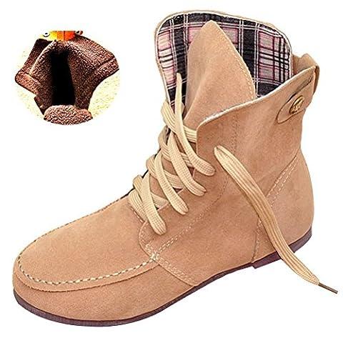 Minetom Femmes Automne Hiver Bottes de Neige Cheville Chaudes Fourrure Laçage Chaussures Plates Bottines À Lacets Beige Coton EU 33