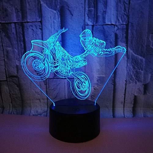 Moto acrobatics 3d led night light 7 colori variabile led usb touch remote lampada da tavolo 3d illusion optical lights gift