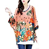 Womens Floral Loose Batwing Sleeve Bohemian Chiffon Oversize Off Shoulder Blouse Tops