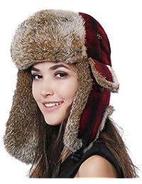 FURTALK Natural Rabbit Fur Ushanka Trapper Hat Bomber Aviator Winter Cap  for Women 3327c5c15191