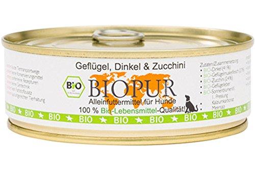 BIOPUR Geflügel, Dinkel & Zucchini Hundefutter Stiege 6 x 200 g