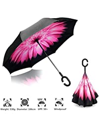Shoppoworld Inverted Umbrella Windproof Upside Down Reverse Travel Umbrella for Women Double Layer Inside Out Reversible Folding Large Car Umbrella for Men - Foldable UV Sun Rain Golf Umbrella