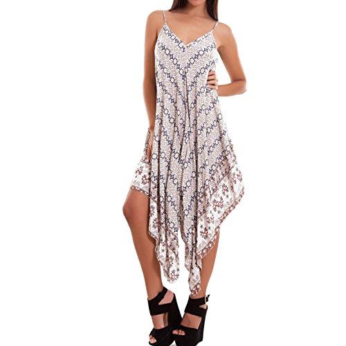Toocool - Vestito donna maxi lungo abito boho punte cachemire scollo V nuovo AS-2221 Bianco