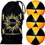 3x Flames N Games ASTRIX UV Thud Jonglierbälle 3er Set (Schwarz/UV Orange) Profi Beanbag Bälle aus Glattleder (Leather) + Reisetasche! Ideal für Anfänger und Profis!