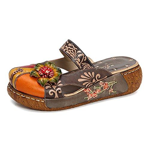 Gracosy Damen Sandalen, Sommer Leder Pantoffel Vintage Slipper Rückenfrei Clogs Bunte Blume Schuhe Weich Komfortabel (Hersteller-Größentabelle IM Bild Beachten) (Größentabelle Vintage)