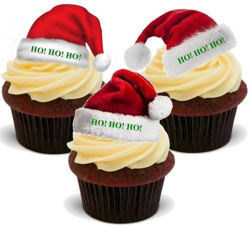 HoHoHo - 12 essbare hochwertige stehende Waffeln Karte Kuchen Toppers Dekorationen, Santa Hat Mix HoHoHo - 12 Edible Stand Up Premium Wafer Card Cake Toppers Decorations ()