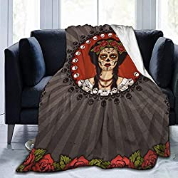 dfegyfr Blankets Frame Mexican Skull Girl Raster Version Throw Blanket for Bed, Couch, and Travel