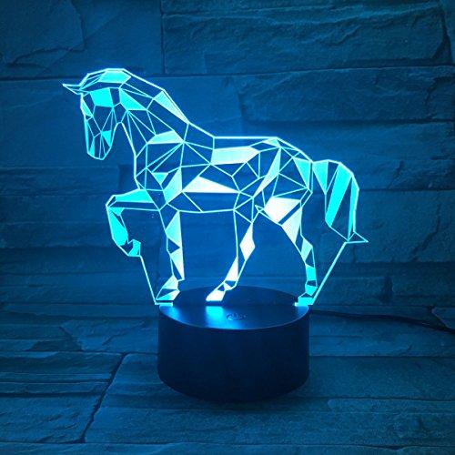 Lampade 3D Illusione Ottica Luce Notturna, EASEHOME Deco Lampada LED da Tavolo Illuminazione Luce di Notte 7 Colori Controllo Tattile Lampada Decorazione da Comodino con Cavo USB, Cavallo