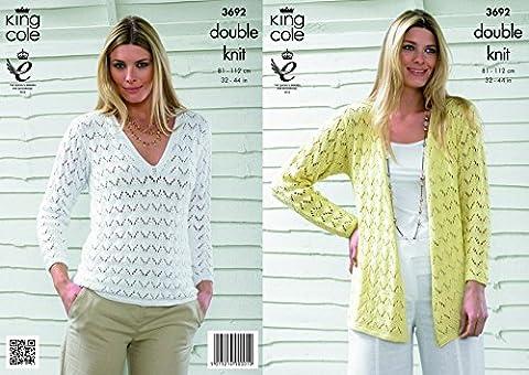 King Cole Ladies Sweater & Cardigan Bamboo Cotton DK Knitting Pattern 3692