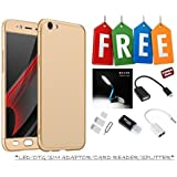 Oppo F1S 360 Degree Cover-Full Body Protection (Front+ Back + Temper Glass) Case Cover With Free Led, Otg Cable, Card Reader, Sim Adapter And Earphone Splitter - Golden