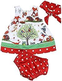 Covermason Bebé Niñas Bosques Impresión Vestidos y Pantalones Cortos y Diademas(1 conjunto)
