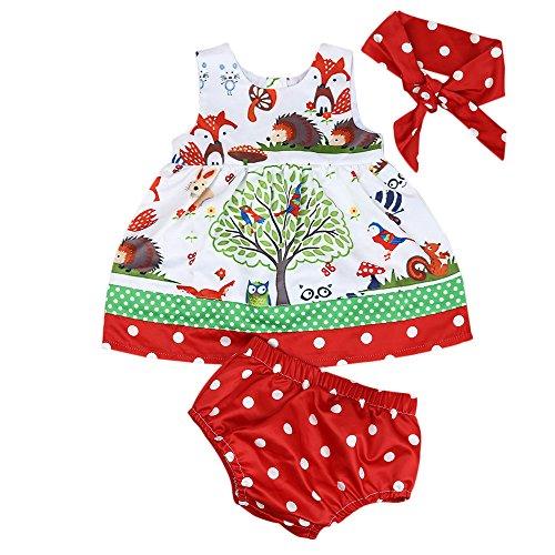 Covermason Bebé Niñas Bosques Impresión Vestidos y Pantalones Cortos y Diademas(1 conjunto) (18M, A)