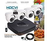 Hyundai–Kit de Video Surveillance HD 720P mit 4Dome Infrarot 25m–Kit–D339–4x 575–2TB, HDD