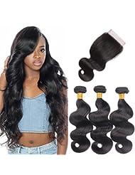 "10A Brazilian Body Wave Virgin Hair 3 Bundles with Closure Unprocessed Human Hair Remy Hair Extensions Natural Black Colour(12"" 14"" 16""+12"" Closure)"