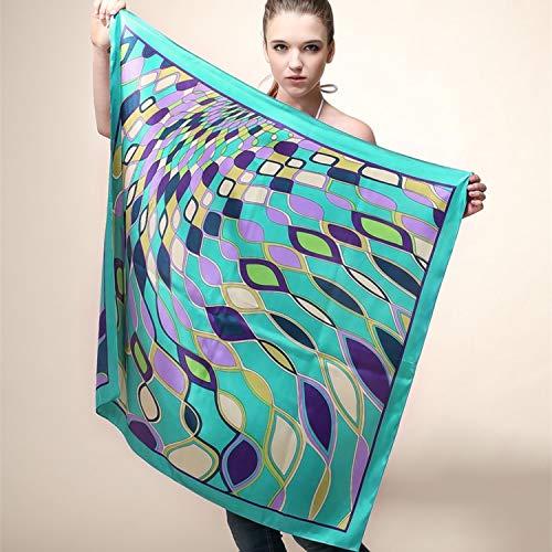 LFMDSJ 90 cm * 90 cm große größe Hohe qualität Silk Satin geometrische diamantgitter hit Farbe Ripple große quadratische Schals Schal 2 -