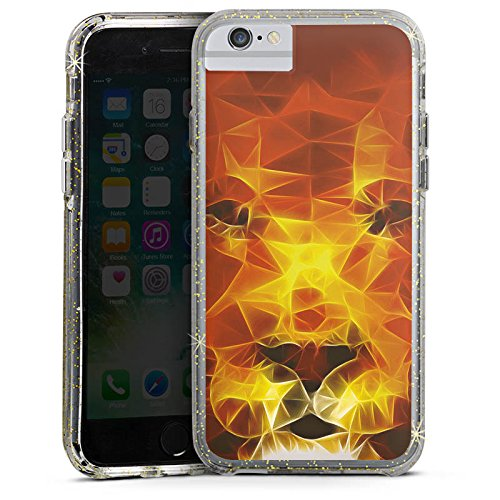 Apple iPhone 6s Bumper Hülle Bumper Case Glitzer Hülle Burning Lion Lion Feuer Bumper Case Glitzer gold