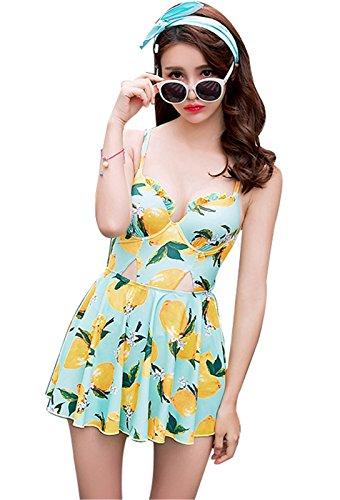 1 Uno Pezzi Costumi interi da bagno per donna Scoperta Cut Out Frutta Modello con Gonna Vestito da spiaggia di nuoto nuotata Boxer Swimsuit Costumi da bagno Swimwear Verde