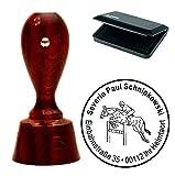 Exclusivo Juego de sellos « Salto Ecuestre » con su redonda de direcciones caoba farbener sello de direcciones con tampón–Reitsport reiterhof caballo jinete