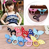 Jeval Perfect Shopo Baby Girl's Elastic Rubber Bunny Rabbit Ear Multicolour Hairbands for Women and Girls - Pack of 24
