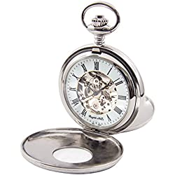 Regent Hills Vintage Silver Mechanical Double Hunter Skeleton Pocket Watch With Chain 56523CP-W2