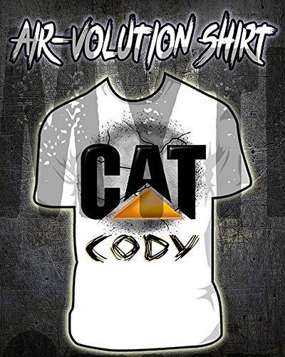 Mythic Airbrush Personalisierte Airbrushed CAT-Hemd Kinder- / Erwachsen-Größen Weiß -