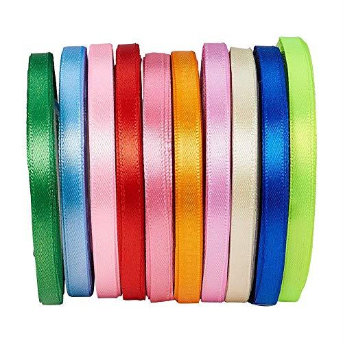 Bocotoer Satinband, 6 mm breit, 10 Rollen