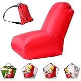 Air Stuhl, wasserdichtes aufblasbares Luftstuhl mit Tragebeutel für Camping und Strand, Aufblasbarer Sitzsack für die Benutzung im Freien oder zu Hause (rot)