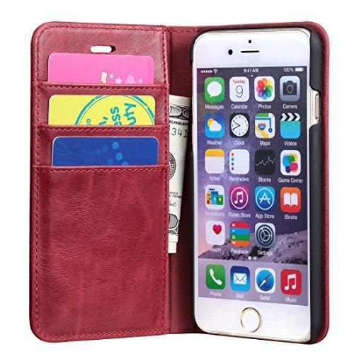 Cover iPhone 7, Cover iPhone 8, Lensun in Vera Pelle Cuoio Custodia Genuio Annata a Portafoglio con Coperchio Apribile per iPhone 7 e iPhone 8 4.7 - Rosso Vino (7G-FG-WR) Rosso Vino