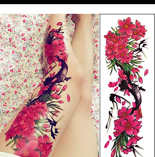 Tätowierung Sticker Fuchs Hase Pfau Schädel Drache Vollarm Blume Tattoo Body Art Big Large Fake Tattoo Sleeve b pcs 3 ()