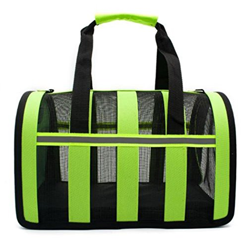 Yihya Portatile e Pieghevole Autobus Treno Cane Gatto Pet Carrier Gabbia Animale Domestico Borsa di Trasporto Morbido Sided Puppy Kitten Canile Viaggi Carry Borsa Piccolo 35*21*20cm - Verde