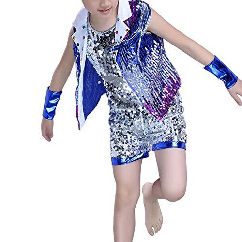Jungen Für Kostüm Ballroom - Yiliankeji Childrens Sequin Ballroom Jazz Dancewear - Kinder Rock Bühnentanz Kostüme Street Dance Modern Hip Hop Jungen Mädchen Clothing Set