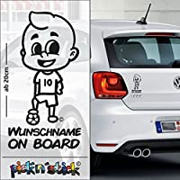 Soccer - Fußball - Baby on Board mit Ball | individuell mit Name | Wunschtext | Auto Aufkleber | Lustig | Funny | picknstick