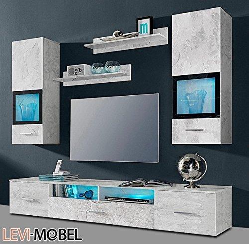 Moebelaktionsshop24 WOHNWAND 5-TLG ANBAUWAND Wohnzimmer Schrank Beton-Optik MATT NEU 874604