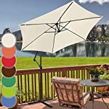 Sonnenschirm Ø 300cm in Farbwahl | mit Handkurbel zum Aufspannen,Wasserabweisender Schirmbezug, inkl. Ständer | Ampelschirm, Gartenschirm, Kurbelschirm, Marktschirm, Sonnenschutz für Balkon, Garten, Tarasse