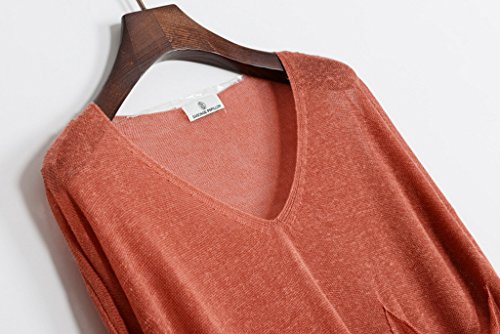 Bigood Sarrau T-shirt Lin Femme Overall Grande Taille Tops à Manches Longues Col V Pochette Orange
