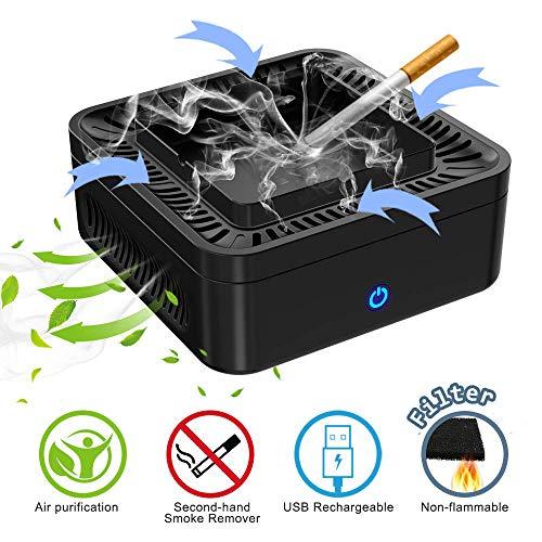 Luftreiniger Aschenbecher Multifunktional 【3in1】 Rauchloser Aschenbecher mit Luftreiniger Deodorant Aktivkohlefilter und Ionisator HEPA-Filter Rauchzigarette mit USB aufladbar für Auto Zuhause Büro - Hepa-filter-teil