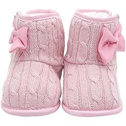 Itaar Zapato para Bebé Primeros Pasos Botita para Bebé Preandante en Tricot con Lazo en el Lateral (12, rosa)